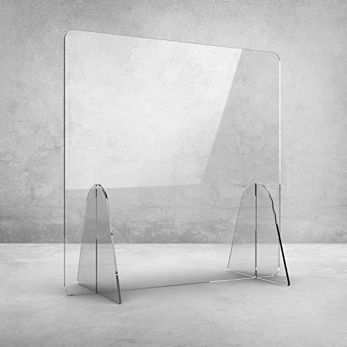 HoWar Spuckschutz ohne Durchreiche | Plexiglas Schutzwand Trennwand aus Acrylglas Antibakteriell Virenschutz | Thekenaufsatz als Hustenschutz | Tischaufsatz | Trennwand Schreibtisch ab70x70 cm