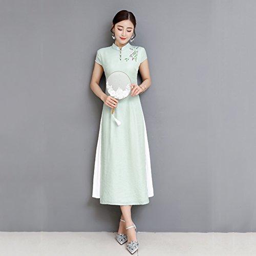 Vestido de mujer Vestido de mujer Vestido de fiesta largo chino Vestido de fiesta largo de noche Cheongsam Qipao Envío diario Nuevo ( tamaño : L )