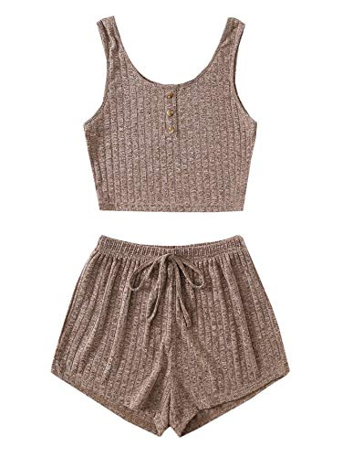 SOLY HUX Women's Button Front Ribbed Knit Tank Top and Shorts Pajama Set Sleepwear Mocha Brown S