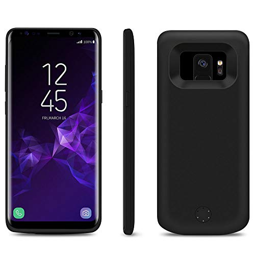 HQXHB Funda Batería para Samsung Galaxy S9 Plus, 5000mAh Funda Cargador Portatil Batería Externa Carcasa Batería Recargable Power Bank Case - Negro