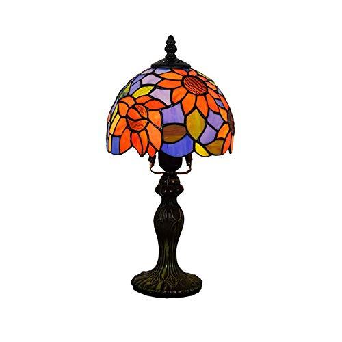 Lámpara de mesa de girasol europea Retro Rústico Tiffany Estilo Escritorio Lámpara Accesorios Lámpara de 8 pulgadas Pantalla de vidrieras Industria Sala de estar Sala de estar Lámparas de lectura