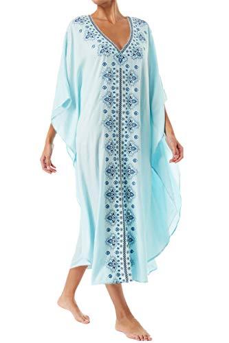 L-Peach Damen Sommer Baumwolle Blumenstickerei Langes Kleid Strandkleid Bikini Coverups One Size