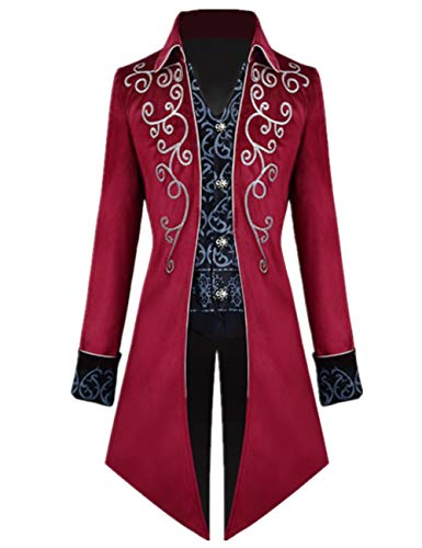 Apocrypha Men's Medieval Steampunk Tailcoat Vampire Gothic Jackets Frock Coat (Large, Red)