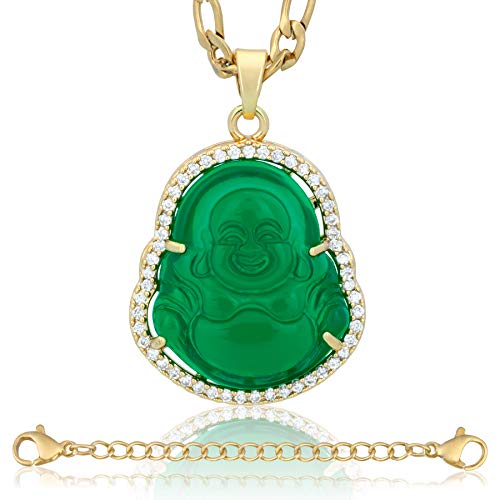 ZenBless Rhinestones Crystals Buddha Cubic Zirconia Necklace Green Jasper Laughing Buddha Necklaces for Women Men Premium Quality 18K Gold Plated Stainless Steel Luck Auspicious Beginning