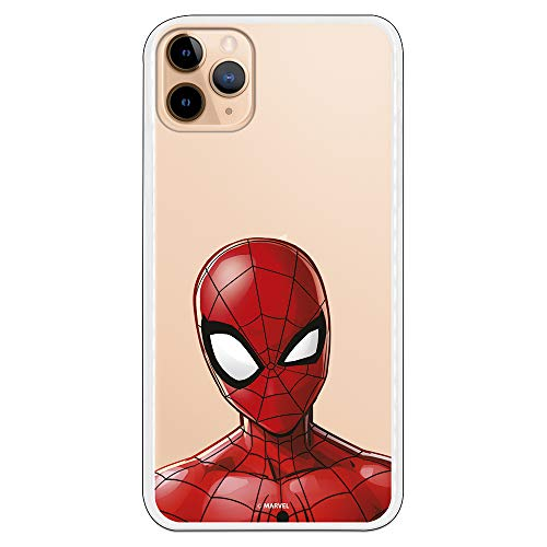 Funda para iPhone 11 Pro MAX Oficial de Marvel Spiderman Silueta Transparente para Proteger tu móvil. Carcasa para Apple de Silicona Flexible con Licencia Oficial de Marvel.