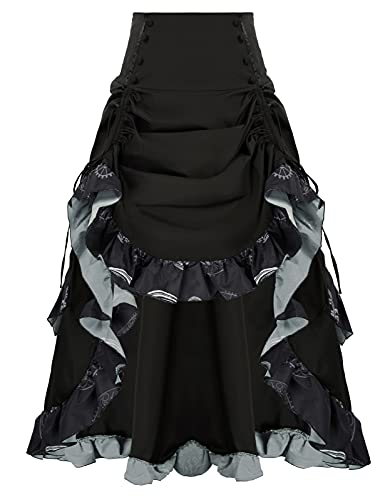 Victorian Renaissance Bustle Skirt Steampunk Pirate Costume for Women Black 2XL