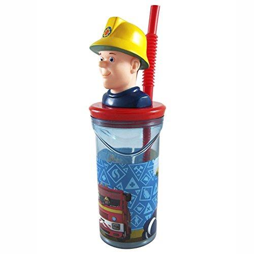 Feuerwehrmann Sam Maxi Trink-Becher 3D-Figur & Strohhalm   300 ml