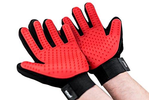 PETGAM Haustier Handschuh 2 Stück Entfernung Loser Tierhaare und Massage, Fellpflege für Hund Katze Tierhaarentferner Bürste (1 Paar Handschuhe)