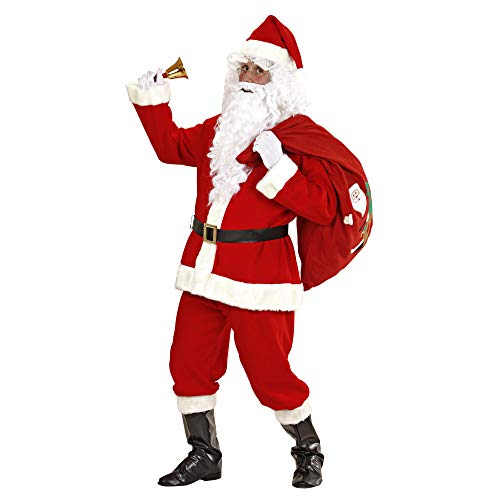 Loalirando 8 Pcs Adults Plush Santa Claus Suit With Bell Father Christmas Fancy Dress Cosplay Costume Party Outfit S