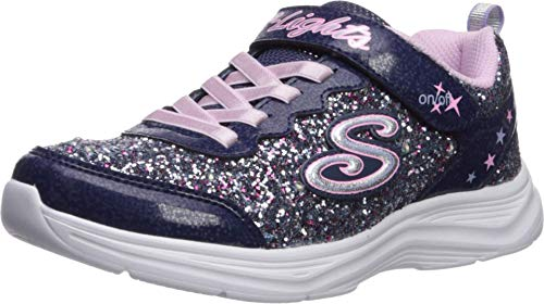 Skechers Girls' Glimmer Kicks N' Glow Trainers, Blue (Navy & Multi Rock Glitter/Lavender & Lt Pink Trim Nvlv), 12 (30 EU)