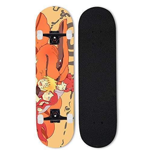 Totots Anime Skateboard para Naruto, Uzumaki Naruto Doble inclinación de Cuatro Ruedas de Cuatro Ruedas, Kurama/Kyuubi Siete-Capa Mapate de Arce, patineta de Longboard de 31 Pulgadas al Aire Libre.
