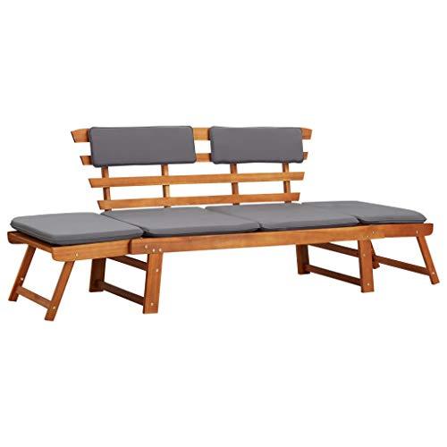 Festnight Akazienholz Massiv 2-in-1 Gartenliege mit Auflage Sonnenliege Gartenbank Sitzbank Tagesbett Holzbank (155-190) x 60 x 75 cm