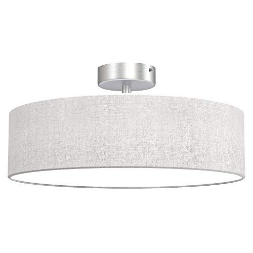 Briloner Leuchten - lámpara de techo, luz de tela, luz de techo 3 x E14 máx. 40 vatios, pantalla de tela, color: blanco satinado, diámetro de 40 cm