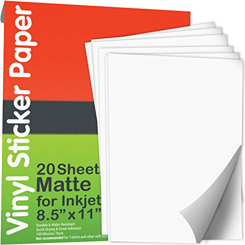 JOYEZA Printable Vinyl Sticker Paper for Inkjet Printer - 20 Sheets Matte White Waterproof, Dries Quickly Vivid Colors, Holds Ink well- Tear Resistant - Inkjet & Laser Printer