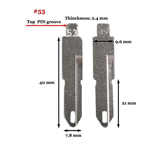 DAXINYANG 10 unids/Lote VA2 HU83 SX9 Fit para Citroen C4L Triumph Peugeot 307 207 Flip Car Key Blade Fob # 53# 54# 58# 72# 73# 83# 99# 122 (Color : NO. 53 Top Groove)