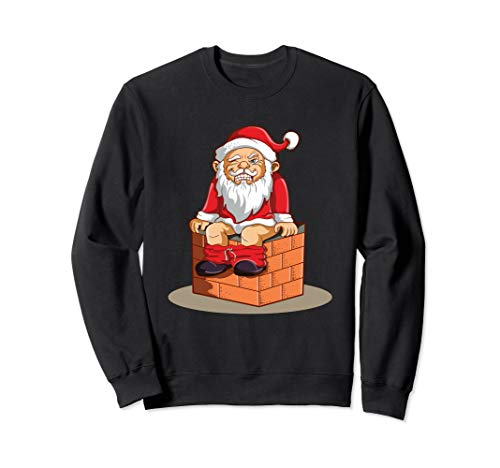 Santa taking Poo Sweatshirt Funny Pooping Ugly Sweater Gift