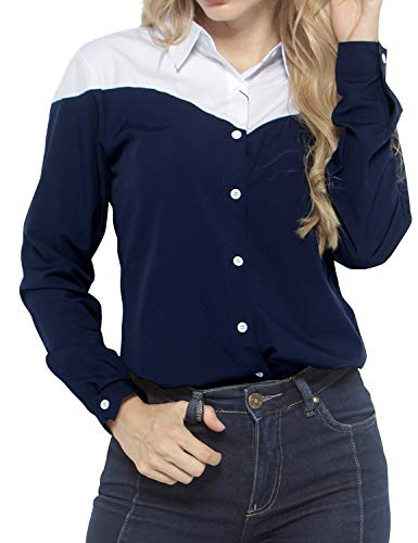 Match Women's Striped Printing Long Sleeve Shirts Blouses #2042 (2043 Navy Blue,S)