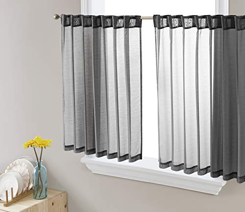 HLC.ME Lauren Semi Sheer Light Filtering Transparent Rod Pocket Back Tab Short Thick Cafe Curtain Tiers Drapery Panels for Small Windows, Kitchen & Basement, Set of 2 (36 W x 36 L, Charcoal Grey)