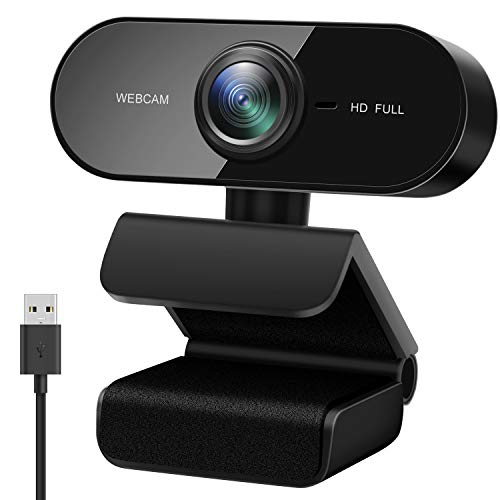 Webcam mit Mikrofon, Full HD 1080P PC Kamera mit Automatischer Lichtkorrektur USB 2.0 Plug & Play Webcam für Videoanrufe/Videokonferenzen/Online Lernen, kompatibel mit Windows, Mac und Android