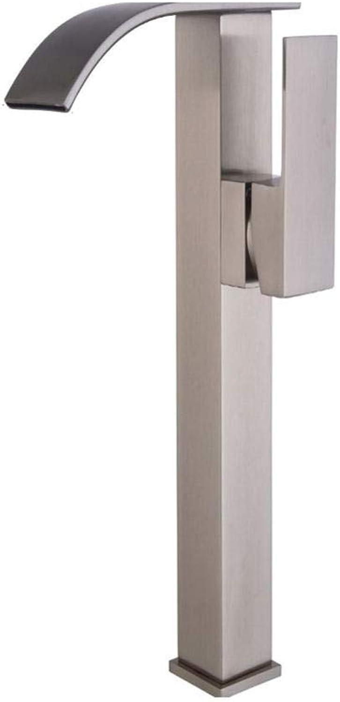 WATER TOWER Waschtischarmatur, Elegant Wasserhahn Bad, Einhebel-Waschtischmischer, Glatter Krper, Gebürsteter Waschbeckenhahn, Der Hahnwasserfall-Heien Und Kalten Wasserhahn Erhht
