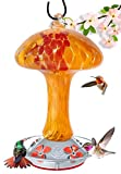 Grateful Gnome - Hummingbird Feeder - Hand Blown Glass - Red and Orange Mushroom - 32 Fluid Ounces