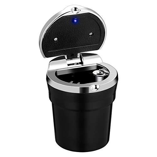 WINOMO Cenicero Auto Coche de Cigarrillos con luz Azul LED portátil (Negro)