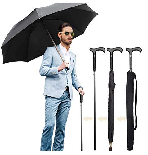 Walking Cane Umbrella 2-in-1 Windproof Walking Sticks Crutch Umbrella,Heavy Duty Frame,Lightweight - Umbrella Cane,Great Gift for Birthday,Christmas,Father's Day,Men,Women
