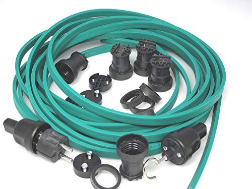 IKu ® Bausatz Illu Lichterkette 10 Meter 10 Fassungen - Stecker - Endstück - Grünes Kabel
