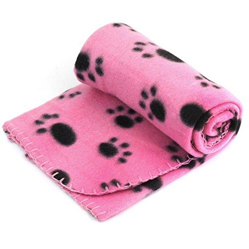 Bluelans® Couverture en polaire douce et chaude pour animal domestique Motif empreintes de pattes Rose 60 x 70 cm