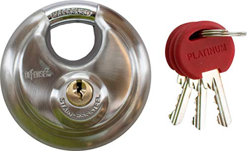 Defense2 - Disc Padlock with Keys - Cut, Saw, & Pick Resistant - Heavy Duty Corrosion Proof Construction for Indoor or Outdoor Storage Unit Use - 2 3/4
