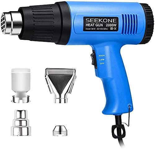 SEEKONE Heat Gun, 2000W Heavy Duty Hot Air Gun Kit with 300ºC & 600ºC Dual-Temperature Settings and 4 Nozzles for Shrinking PVC,Stripping Paint, Crafts
