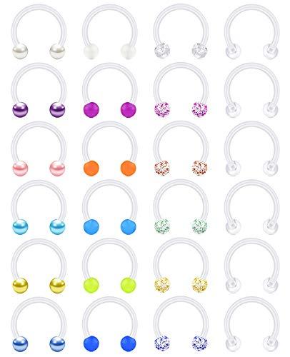 vcmart Plastik Hufeisen Nasenpiecing Nasenring Septum Helix Lippe Ring 16G Bioflex Flexibel Kunststoff Piercing