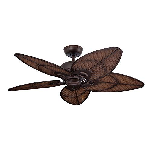 kathy ireland Home Batalie Breeze Outdoor Ceiling Fan, 52 Inch | Large Metal Fixture with Palm Leaf Blades, Quiet Motor, and Pull Chain | Tropical Style for Outside and Indoor Home Decor, Bronze