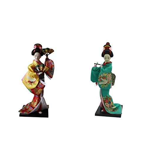 lahomia Juego de 2 Figuras Decorativas de Muñeca de Niña Geisha Japonesa Kimono Vintage Artesanal
