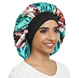 Double Layer Satin Bonnet Sleep cap Silky Night hat Wide Elastic Band for Women Hair Loss,Curly Long Hair (Normal size, Green Flower)