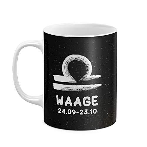 312 ml Kaffeetasse Tasse Tassen Becher aus Hitzebeständiger Weißer Keramik Horoskop Zeichen Astrologie Waage Horoscope Sign Libra Scales Tierkreis Zodiac Einzigartiges Geschenk zum Bester Freund