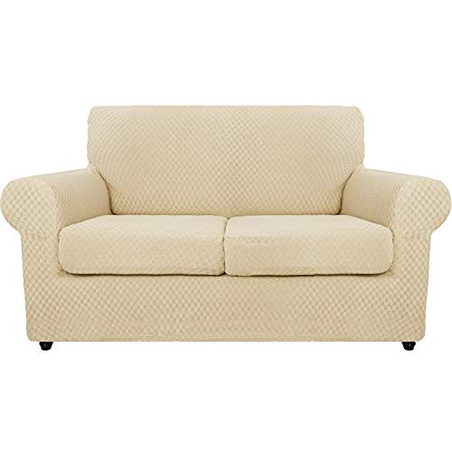 MAXIJIN 3 Piece Newest Jacquard Couch Covers for 2 Seater Super Stretch Non Slip Love Seat Couch Cover for Dogs Pet Friendly Elastic Furniture Protector Loveseat Slipcovers (2 Seater, Light Beige)