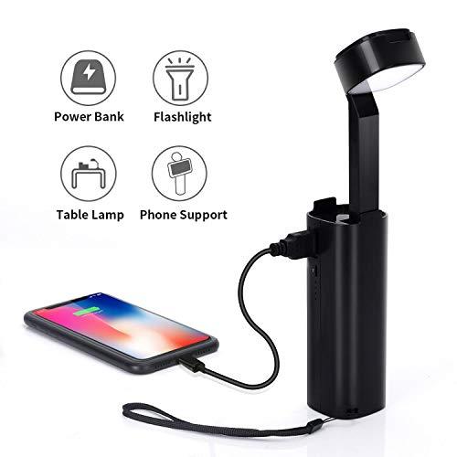 LED Taschenlampe 3 in 1 Schreibtischlampe Power Bank (4400mAh), Handyhalterfunktion, USB wiederaufladbar, dimmbar 3-stufige Helligkeit, für Lesen, Camping Anschauen von Videos Schwarz