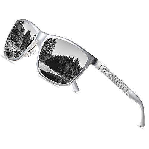 DUCO Rechteckigen polarisierten Metallrahmen Sonnenbrille Outdoor-Brille für das fahren 8200 (Silber)