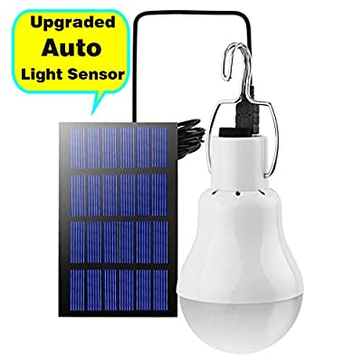 Solar Light Bulb Outdoor (Upgrade with Light Sensor)110LM Portable Solar Powered Led Bulb Light for Chicken Coops Shed Hiking Fishing Camping Tent Lighting (1 Pack)