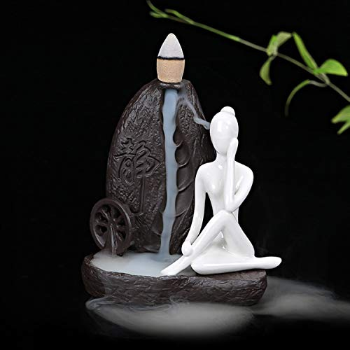 OTOFY Handmade Ceramic Incense Holder, Backflow Incense Burner Figurine Incense Cone Holders Home Decor Gift Decorations Statue Ornaments (Yoga Style 4)