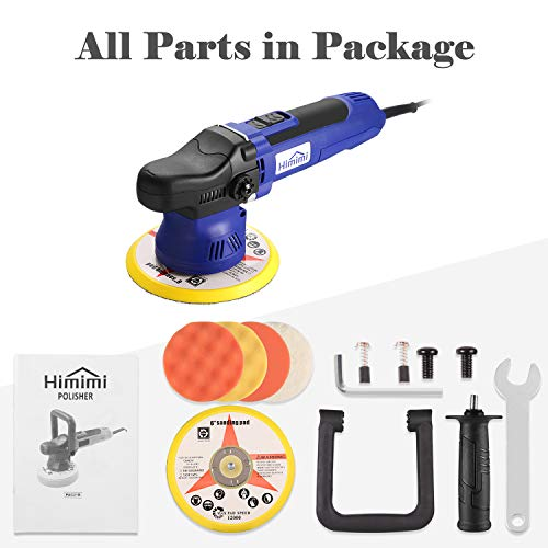 Polisher, HIMIMI 6 Inch Car Buffer Polisher Sander with 6 Variable Speed 2000-6400RPM, Detachable Handle, 4 Pads Ideal for Cars, Boats, Furnitures Po   lishing, Sanding and Waxing
