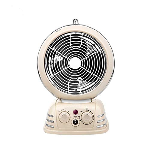 Tragbare Elektrische Einstellbare Thermostat-Lüfte Kleiner Speichererhitzer Schnellheizung sowohl heiß als auch kalt kann durch rotierende Taste verwendet/betrieben Werden (Color : Beige)