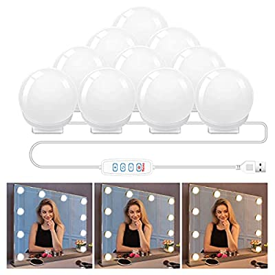 Hollywood Style Led Vanity Mirror Lights Kit with 10 Dimmable Light Bulbs,USB Powered Vanity Lights for Mirror Benches Dresser(3 Color Modes, 10 Adjustable Brightness)