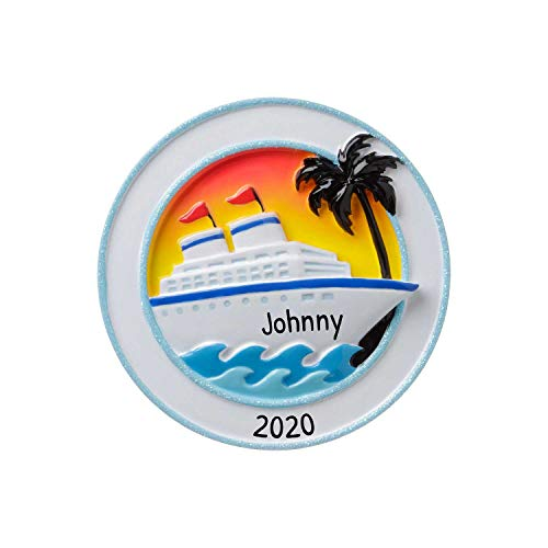 Personalized Cruise Ship Christmas Tree Ornament 2020 - Board Tour Travel Ocean Hop On Top Get-Away Sea Summer Wave Tropic Palm First Vacation Trip Tourist Visit Tradition Year - Free Customization