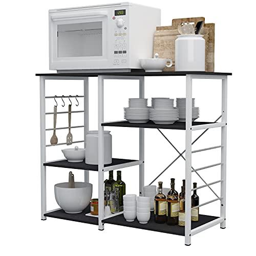 sogesfurniture Estante de Cocina Estantería para Microondas Estantería Metálica, 3 Niveles Baker