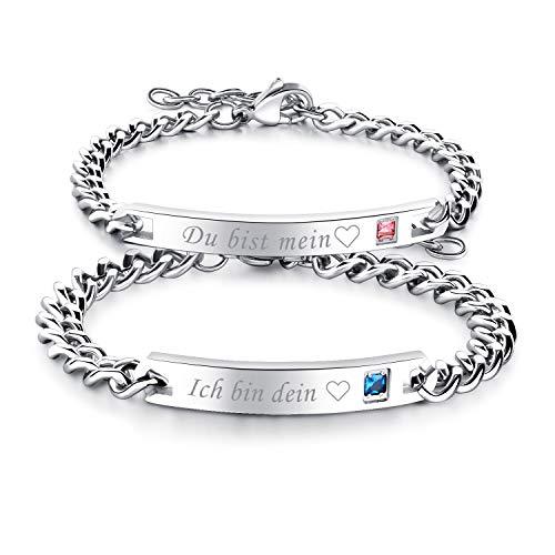 """Cupimatch Paare Armband mit Gravur """"Ich Bin Dein""""""""Du bist Mein für Verliebte Edelstahl Schmuck Damen Silber Farbe"""