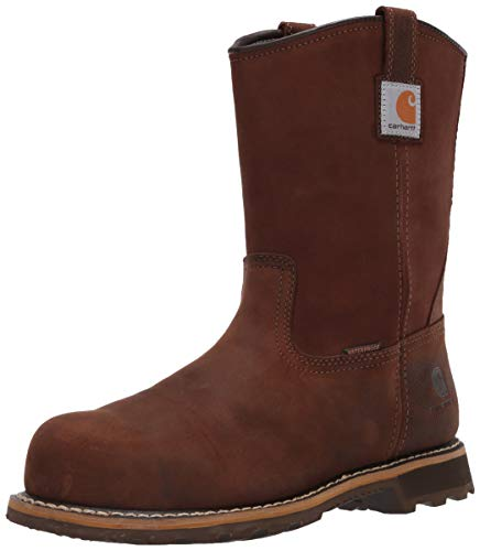 Carhartt Men's 10in Pull On WP Nano Toe Boot Industrial, Bison Brown Oil Tan, 11 Wide