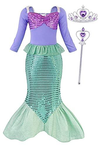 Jurebecia Vestito Sirenetta Bambina Vestito da Sirena per Bambina Costume da Principessa Dress Up Party Fancy Birthday Halloween Kids Abiti con Accessori