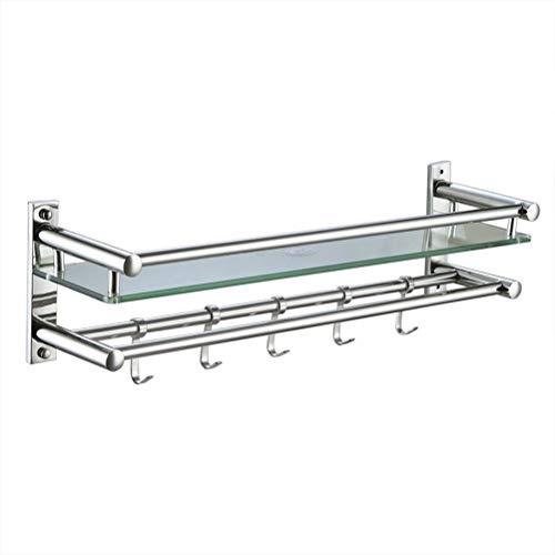 ZhanMazwj 02.01 - Toallero de pared con ganchos móviles, fácil de limpiar, resistente al óxido para baño, cocina, dormitorio, 40 ~ 60 cm, acero inoxidable, 60 cm